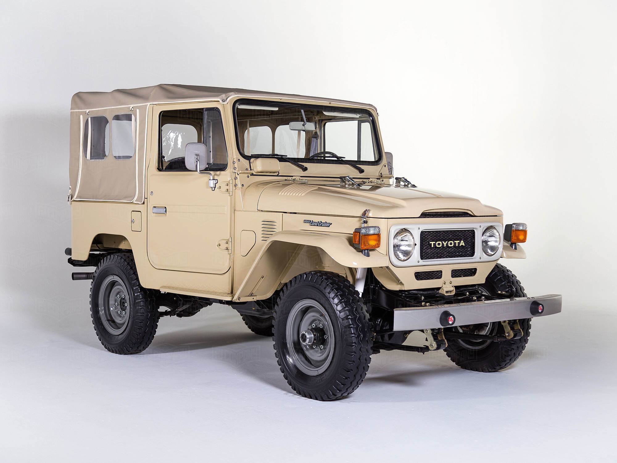This striking Land Cruiser received our complete nut and bolt restoration.